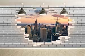 Papier Peint Brique New York by Papier Peint Trompe L Oeil Mur De Briques Cass 233 Avec Vue