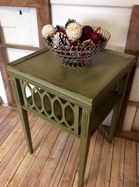 Accent Table in Nantucket Green Chalk Style Paint