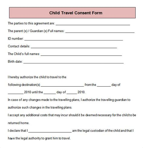 free child travel consent form template parental consent form template travel images template design ideas