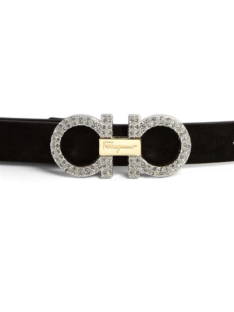 new feragamo ferragamo gancini embellished buckle small suede belt in
