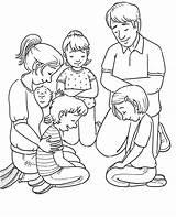 Coloring Praying Prayer Line Primary sketch template