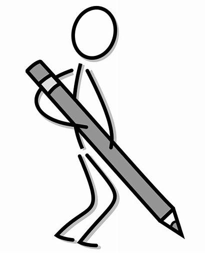 Stick Pencil Figure Clipart Vector Writing Drawing