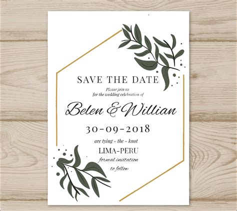 modern leaves wedding invitation