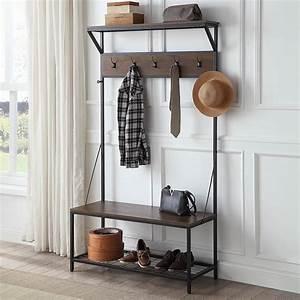 Belleze, 70, Inch, Industrial, Bench, Hall, Tree, Entryway, Storage, Shelf, Coat, Rack