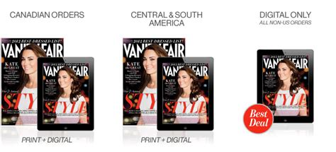 Vanity Fair Magazine Canada - 12 issues one year for 38 24 issues two years for 70