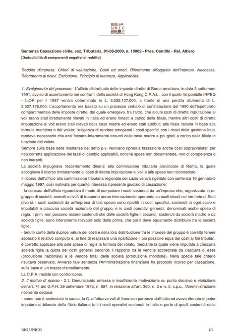 dispense diritto tributario deducibilit 224 componenti negativi di reddito c cass n