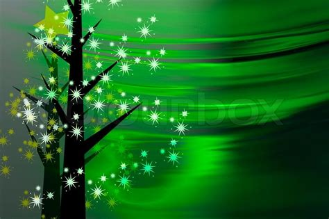 painted green christmas card  white  yellow stars