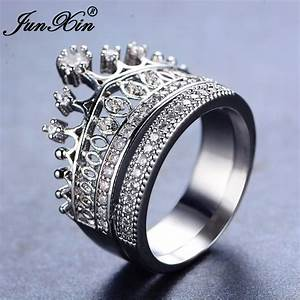 junxin 2017 new fashion female white ring set bridal sets With fashion wedding ring sets