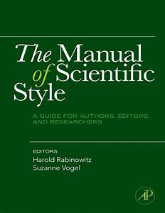 The Manual Of Scientific Style  A Guide For Authors