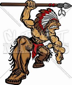 Indian Chief Mascot with Spear and Headdress Vector ...