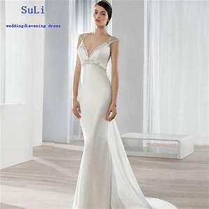ff208 sexy a line v neck satin sheath luxury beaded With v neck sheath wedding dress