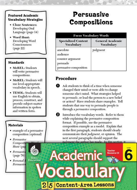 persuasive compositions academic vocabulary level