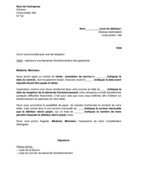 modele lettre changement conditions de paiement lettre d acceptation d une demande de paiement 233 chelonn 233 d