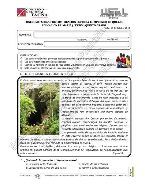 Examen De Comprension+lectora Quinto Grado