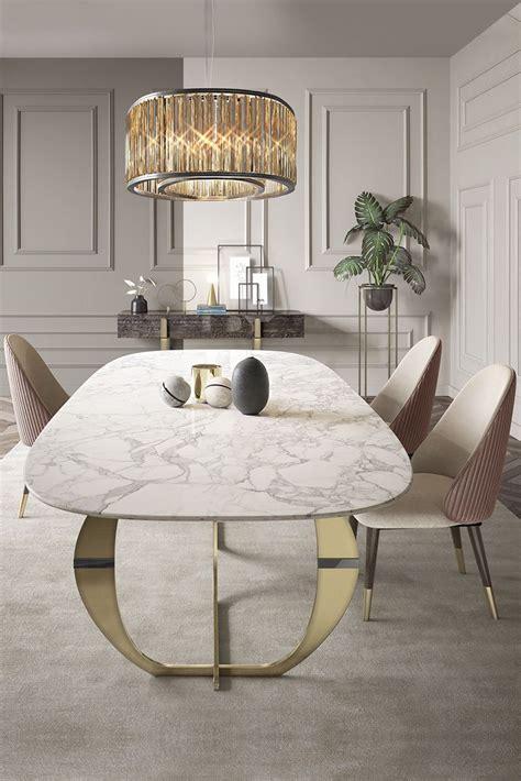 Precious Interior Detailing by Italian Designer Contemporary Marble 6 Seat Dining Set In
