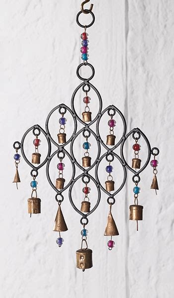 recycled iron windchime  bells  beads indian