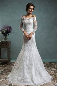 unique mermaid vintage lace long sleeve wedding dress with With wedding dress with long lace sleeves