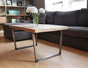 Wood coffee table with square steel legs made of reclaimed for Wood top metal legs coffee table