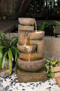 Fontaine D Exterieur En Pierre : fontaine d 39 ext rieur 4 bols effet pierre lumi re 349 99 ~ Premium-room.com Idées de Décoration