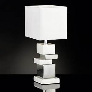 Tischleuchte Silber Modern : tischlampe mit keramikelementen eckig weiss silbern ~ Indierocktalk.com Haus und Dekorationen