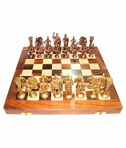 Vintage  14 U0026 39  U0026 39  14 U0026 39  U0026 39   Wooden Chess Board With Brass Roman