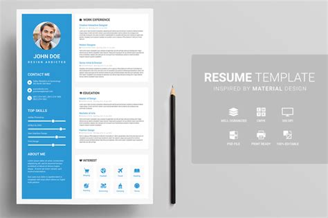 15 material design resume templates for the