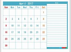 April 2017 Printable Calendar Templates PDF and Image