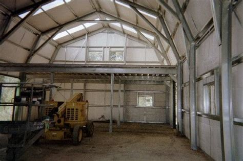 metal building  loft gambrel roof  gable  tall