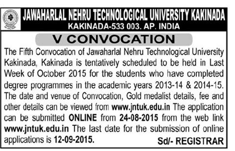 jntuk fifth convocation notification schedule 2015 v convocation