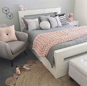 Fresh Light Pink And Grey Bedroom With Pink & Gr #6203