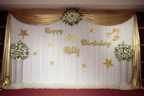 stage decorations  birthday party golden theme