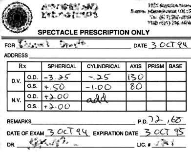legally blind prescription eyeglass prescription