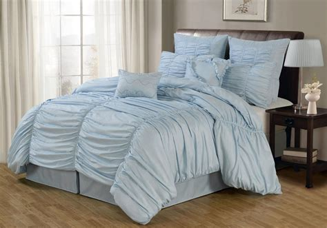 Blue Double Bedding And Curtain Sets