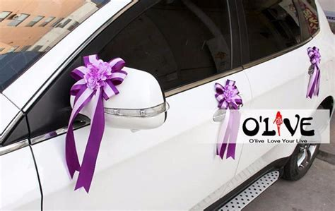 wedding car decoration flowers artificial sucker ribbon