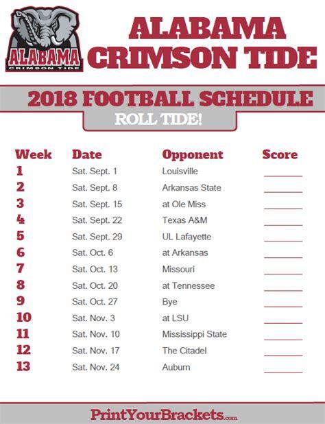 printable alabama crimson tide football schedule alabama