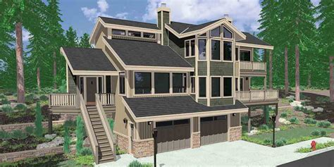 ranch style house plans with walkout basement view home sloping lot multi level house plan 3d home
