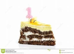 Slice Of Cream Birthday Cake With Candle Stock Photos ...