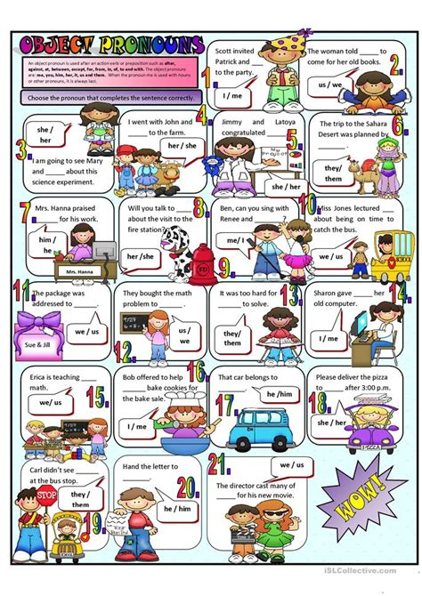 esl pronouns worksheets