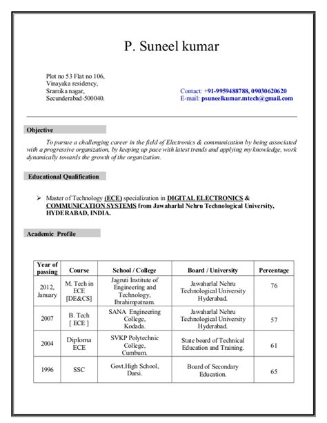 Resume Models For Engineers Ece by Resume Ece