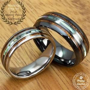 black ceramic and tungsten wedding ring set with abalone With ceramic wedding ring sets