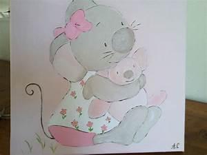 Tableau Chambre Fille : tableau peinture pour chambre petite fille mimie petite ~ Teatrodelosmanantiales.com Idées de Décoration