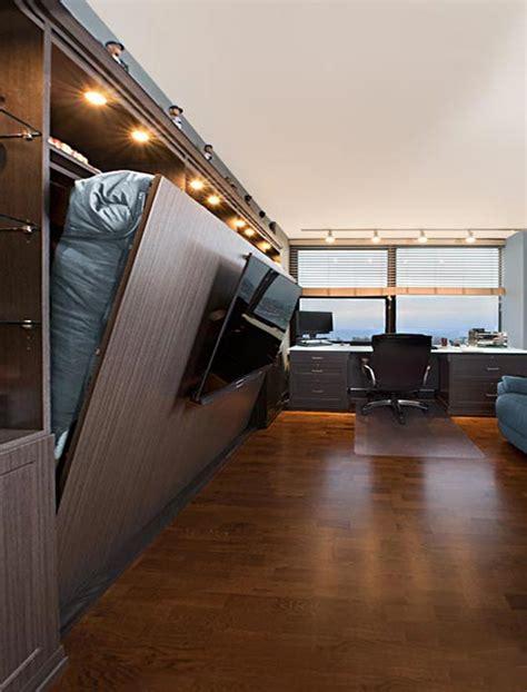 horizontal murphy bed  tv mounted  bed panel