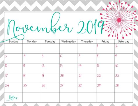 print november calendar  word printable business