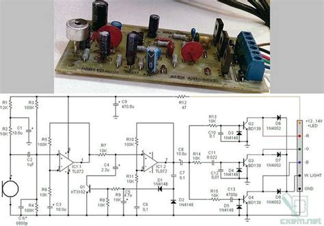 rgb led microphone vu meter circuit electronics projects circuits