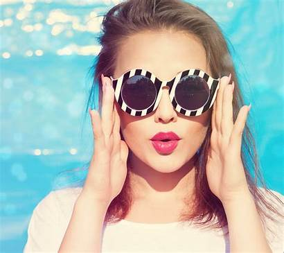 Sunglasses Wearing Woman Attractive Portrait Young Colorful