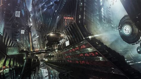 wallpaper digital city futuristic artwork
