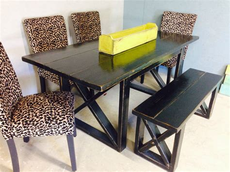6 Foot Dining Table by 6 Foot Black Distressed Dining Table Includes One 4 Foot