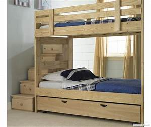Stackable Bunk Bed with Storage Stairs and Trundle Bed