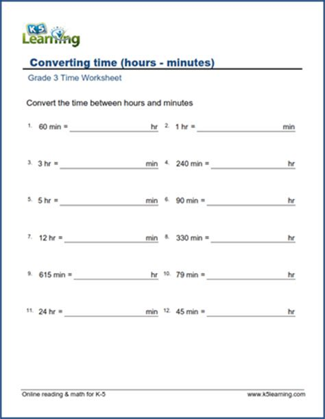 grade 3 time worksheet converting units of time k5 learning