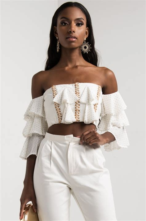 akira  shoulder frill sleeve zip  chain lace crop top   white